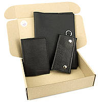 Подарочный набор №25: Обложка на ежедневник + обложка на паспорт + ключница (черный флотар)