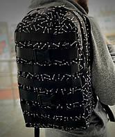 Рюкзак модный городской молодежный качественный с принтом Кости Intruder черный, фото 1