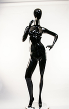 Манекен гипсовый женский безликий черный