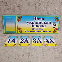 Табличка кабинетная НУШ с кармашком и вставками, фото 1