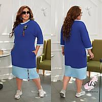 Батальное трикотажное платье в спортивном стиле. 4 цвета!, фото 1