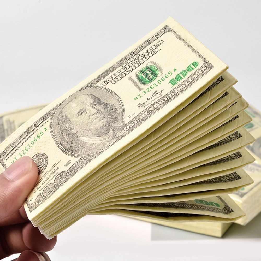 Одноразовые бумажные салфетки 100 долларов 10 шт. Салфетки в виде денег 100 долларов. Денежные салфетки