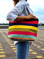 Женская текстильная сумка шоппер, пляжная сумка, тканевая эко-сумка для покупок разноцветная полоска