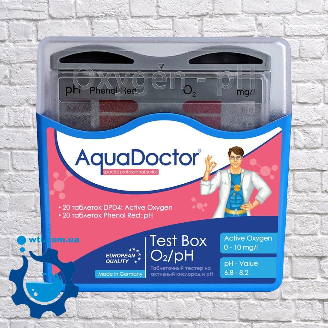 Таблетковий тестер для перевірки активного кисню і рівня рн у басейні Aquadoctor Box pH і O2 Німеччина