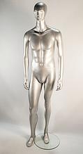 Манекен мужской гипсовый серебро