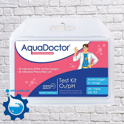 Таблетковий тестер для перевірки активного кисню і рівня рн у басейні Aquadoctor Mini pH і O2 Німеччина, фото 2