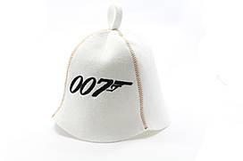 Шапка для сауны (белая), Агент 007, искусственный фетр, Saunapro