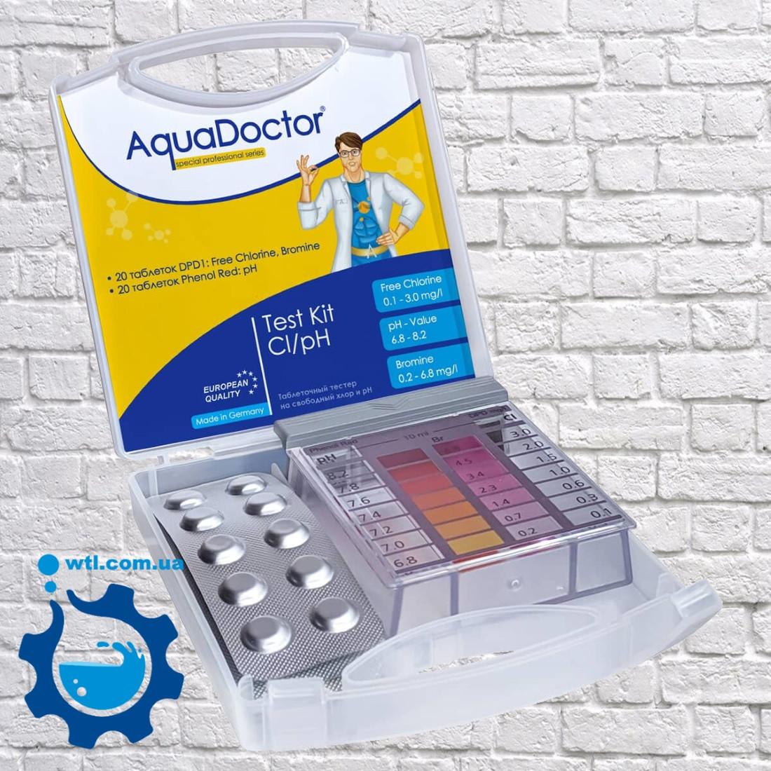 Тестер для бассейна таблеточный Aquadoctor MINI pH и CL Германия. Тестер для проверки уровня pH и хлора