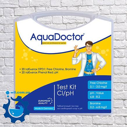 Тестер для бассейна таблеточный Aquadoctor MINI pH и CL Германия. Тестер для проверки уровня pH и хлора, фото 2