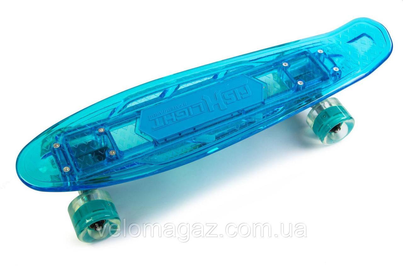 """Пенниборд  Skateboard Original"""" BLUE. Музыкальная и светящаяся дека!    Bluetooth/Micro SD"""