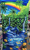 """Яркое полотенце для пляжа с принтом """"Дельфинчики"""" размер 140х70 см"""