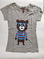 Жіноча футболка з ведмедем сіра, розмір XL, фото 1