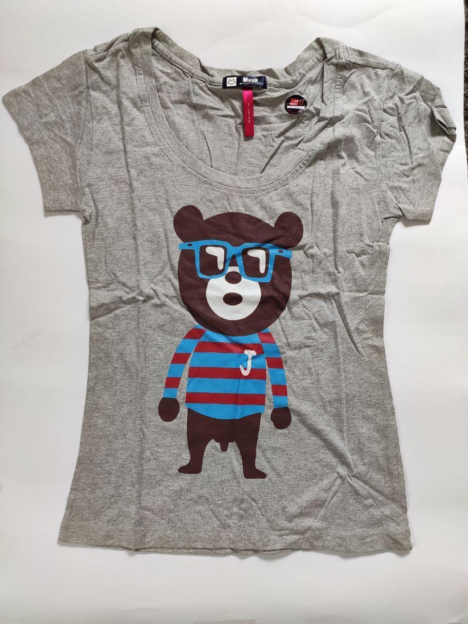 Жіноча футболка з ведмедем сіра, розмір XL