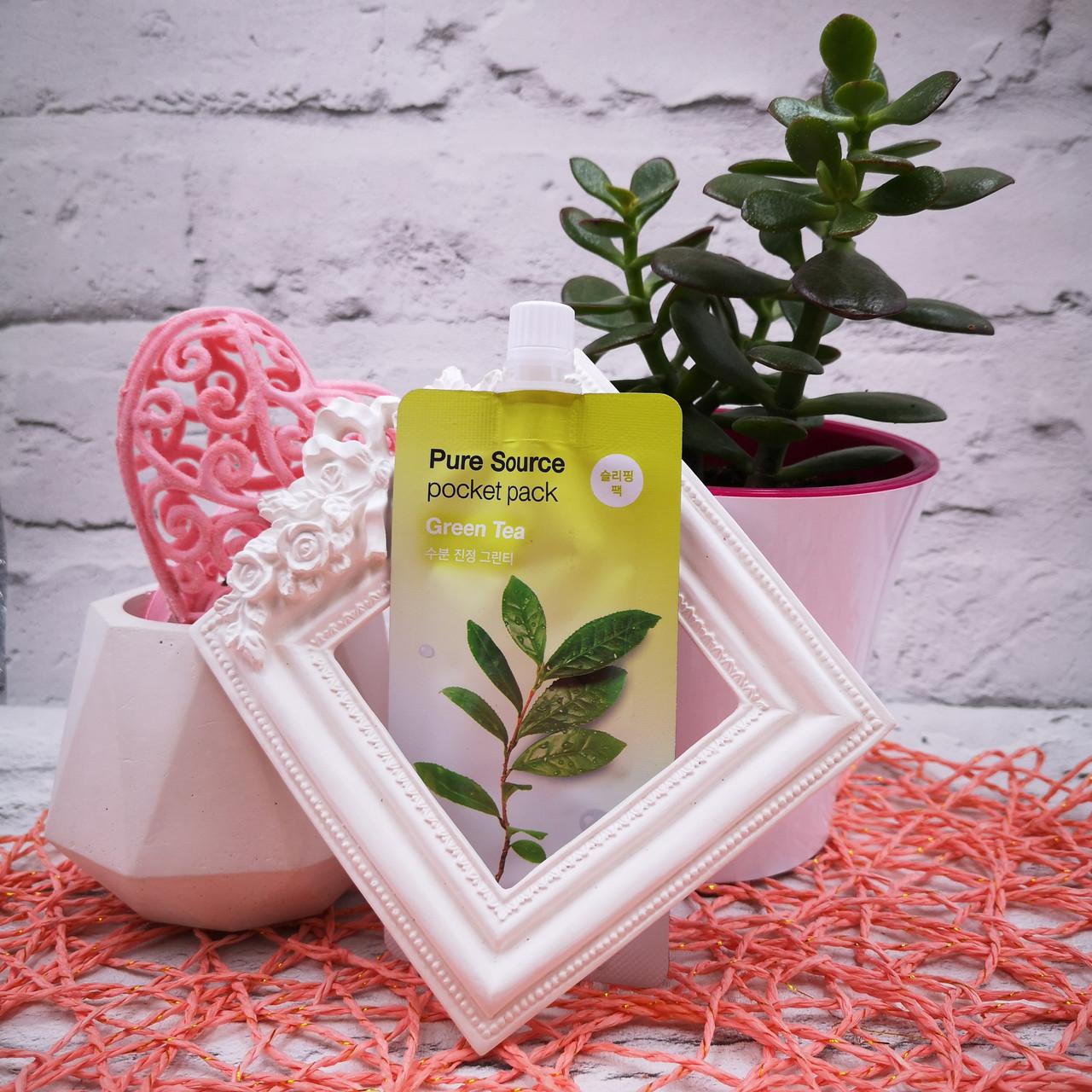 Успокаивающая увлажняющая ночная маска MISSHA с зеленым чаем Pure Source Pocket Pack Green Tea