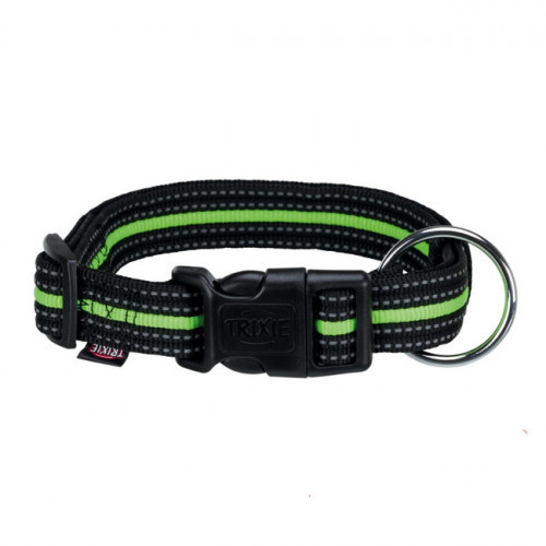 Ошейник нейлоновый Trixie Fusion для собак, 40–65 см/25 мм, чёрный/зелёный