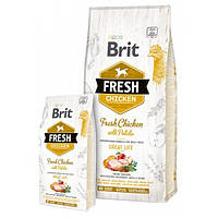 Сухой корм для взрослых собак Brit Fresh Chicken with Potato Adult Great Life, Вес 12 кг