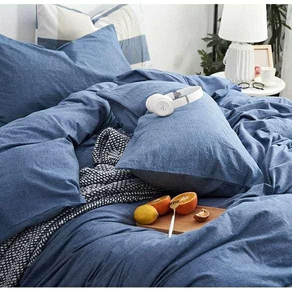 Постельное белье Bella Villa из вареного хлопка синий