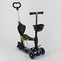 Самокат 5в1 детский трехколесный c сиденьем и ручкой Best Scooter, PU колеса, свет колеса 10999