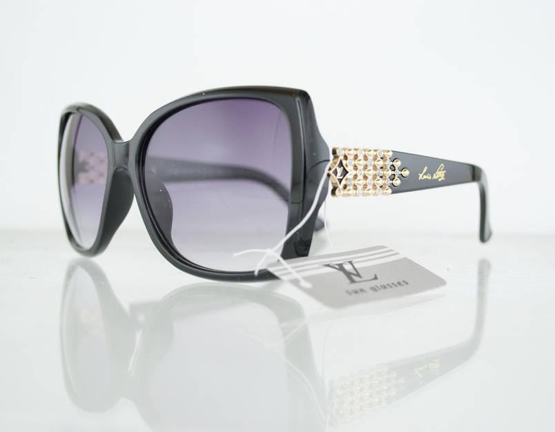 Очки женские солнцезащитные брендовые Louis Vuitton (Луи Витон) - Черные - 0851, фото 2
