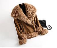 Кожаная женская меховая куртка-дубленка 3 цвета, фото 1