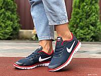 Жіночі кросівки Nike Free Run 3.0 сітка темно сині — річні взуття Найк Фрі Ран
