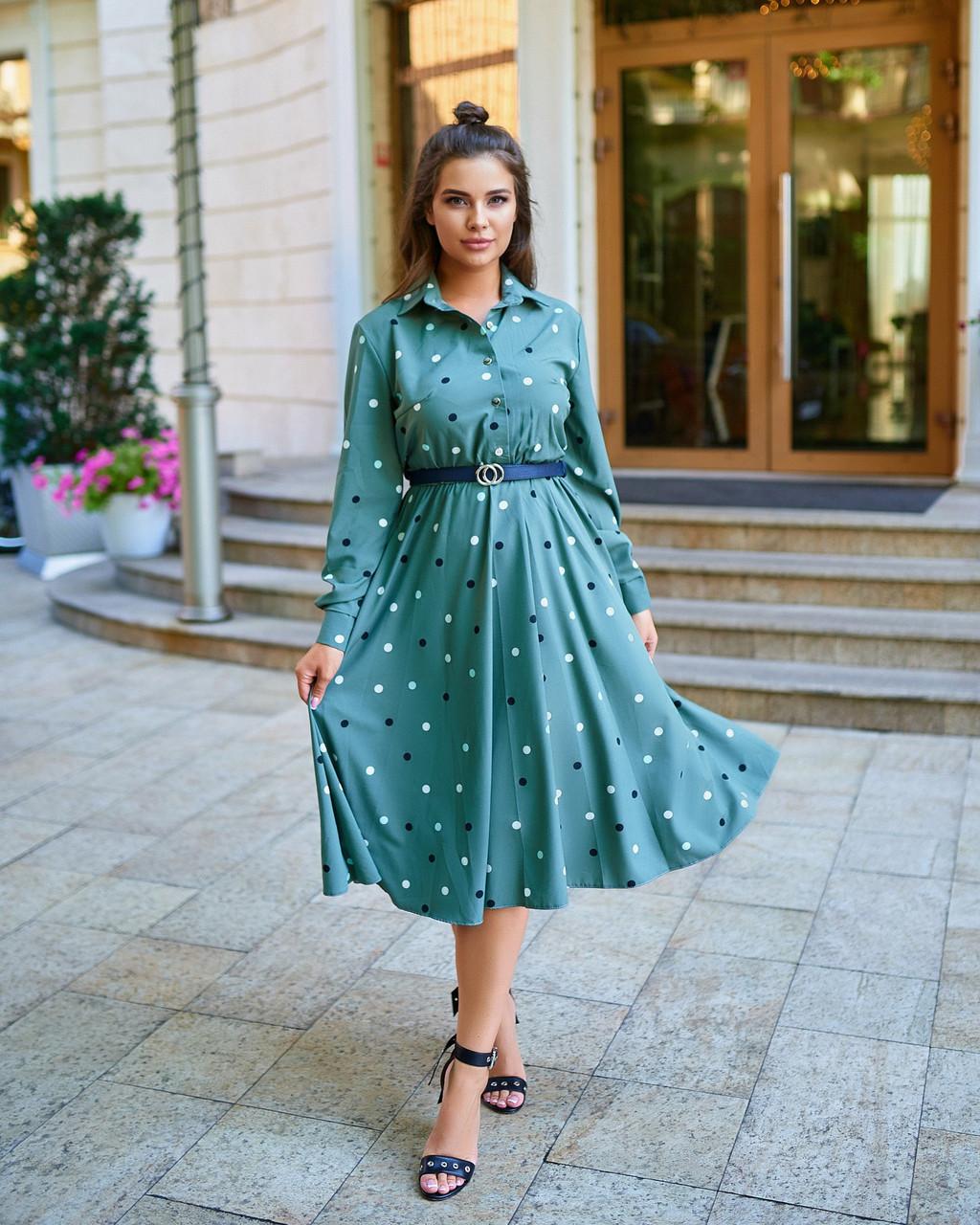 Платье в горох хаки