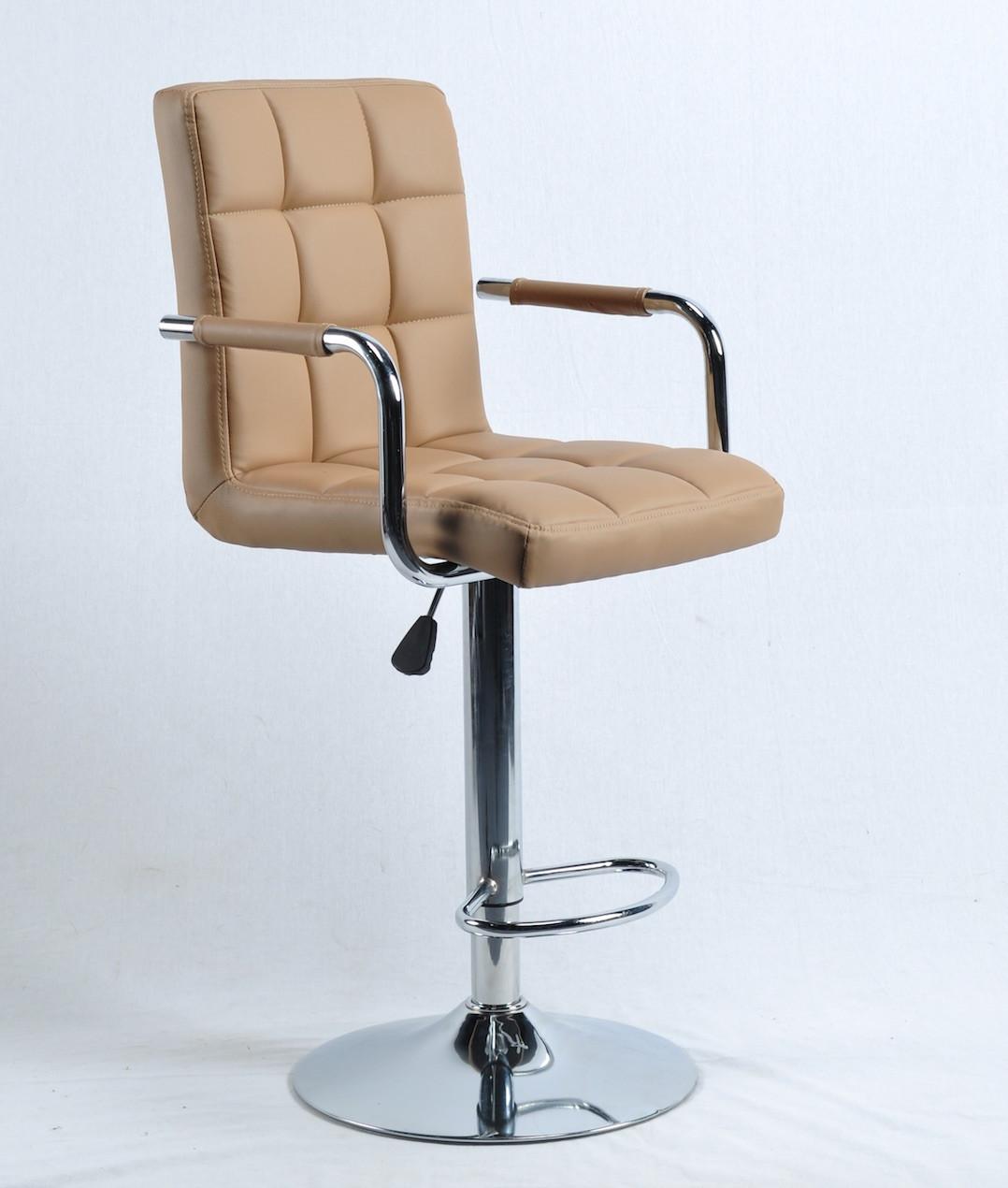 Барный стул Августо AUGUSTO - ARM ЭК бежевая экокожа + хром, с подлокотниками