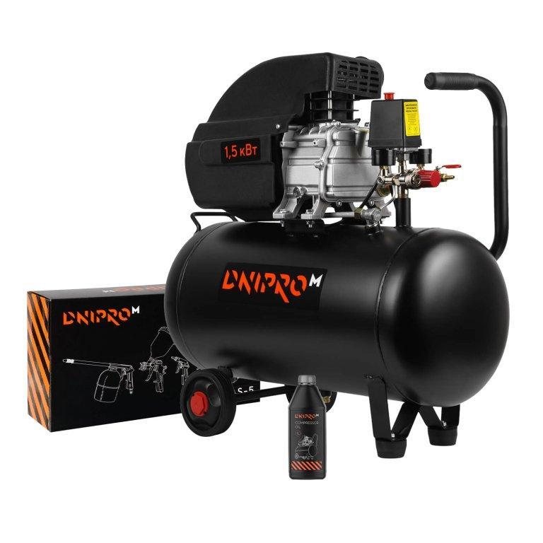 Компрессор воздушный Dnipro-M AC-50 + Набор пневмоинструмента AS-5 + Масло Компрессорное 1.0 л