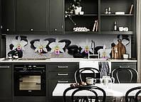 Кухонный фартук Дорожка из Камней (виниловая пленка наклейка скинали ПВХ) Орхидеи капли росы Серый
