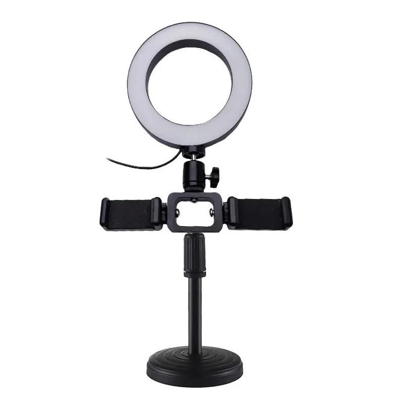 Кольцевая лампа Primo LiveStream селфи-кольцо 16 см на подставке с 2-мя держателями смартфона
