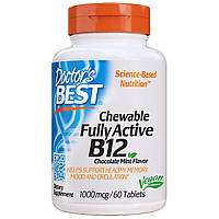 Полностью активированный витамин В12 Doctors Best 1000 мкг шоколадно-мятный вкус 60 жевательных т, КОД: 1724758