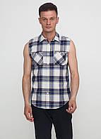 Мужская рубашка Poko Loko без рукавов L Серо-синяя 7170341-L, КОД: 1477846