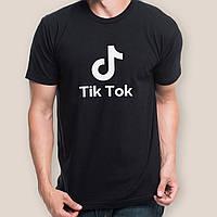 Оригинальная футболка мужская Tik Tok Тик Ток черная летняя Хлопок 100%