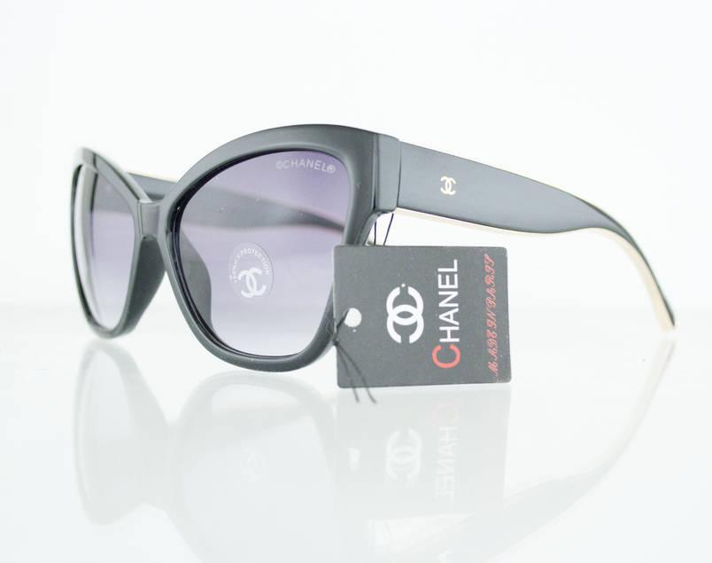 Очки женские солнцезащитные брендовые Chanel (Шанель) - Черные - 5271, фото 2