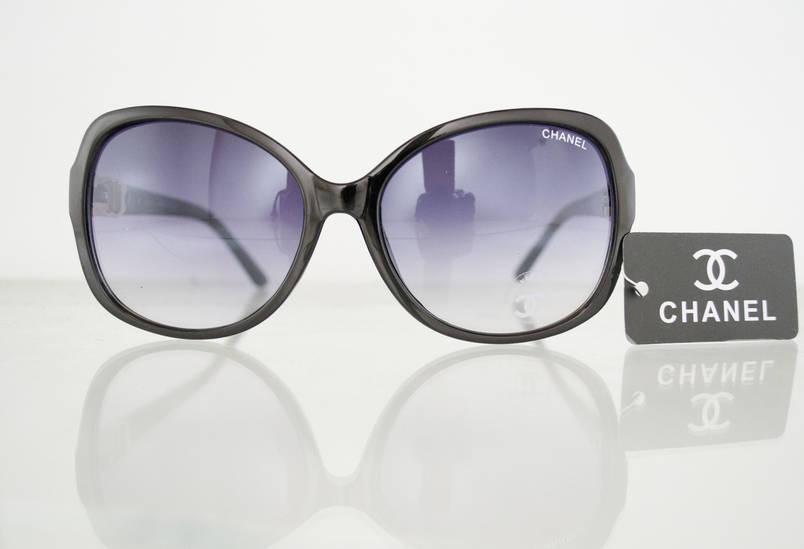 Очки женские солнцезащитные брендовые Chanel (Шанель) - Черные - 8041, фото 2