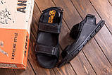 Мужские кожаные сандалии  AND Wolfstep Black (реплика), фото 10