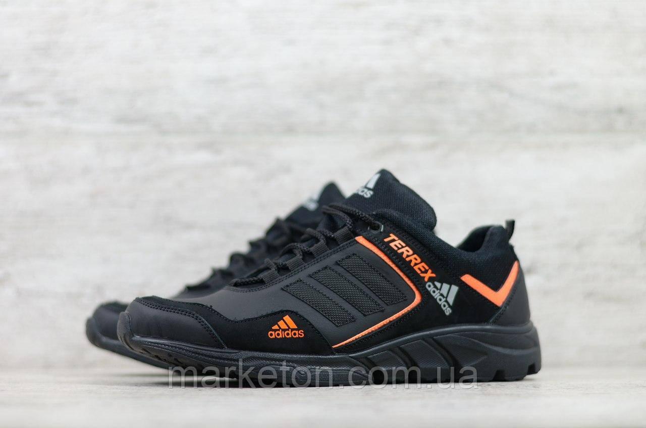 Мужские кожаные кроссовки демисезонные Черные с оранжевым Adidas
