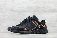 Мужские кожаные кроссовки демисезонные Черные с оранжевым Adidas, фото 1