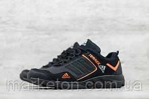 Чоловічі шкіряні кросівки демісезонні Чорні з помаранчевим Adidas