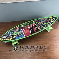 Скейтборд пенни борд детский для девочек мальчиков начинающих с ручкой пластиковый со светящимися колесами