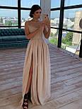 Довге плаття з сітки з блискітками з короткими рукавами і розрізом 66031505Е, фото 3