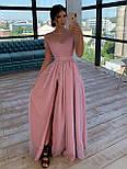 Довге плаття з сітки з блискітками з короткими рукавами і розрізом 66031505Е, фото 4