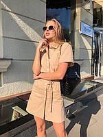 Льняное платье - рубашка с коротким рукавом и спереди на пуговицах 73031509, фото 1