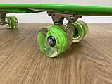 Скейт Penny Board, із широкими світлими колесами і ручкою, Пенні борд, дитячий ,від 5 років, Зелений, фото 4