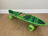 Скейт Penny Board, із широкими світлими колесами і ручкою, Пенні борд, дитячий ,від 5 років, Зелений, фото 3