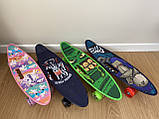 Скейт Penny Board, із широкими світлими колесами і ручкою, Пенні борд, дитячий ,від 5 років, Зелений, фото 8