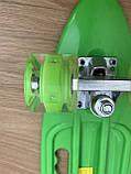 Скейт Penny Board, із широкими світлими колесами і ручкою, Пенні борд, дитячий ,від 5 років, Зелений, фото 2