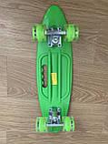 Скейт Penny Board, із широкими світлими колесами і ручкою, Пенні борд, дитячий ,від 5 років, Зелений, фото 5