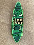 Скейт Penny Board, із широкими світлими колесами і ручкою, Пенні борд, дитячий ,від 5 років, Зелений, фото 6