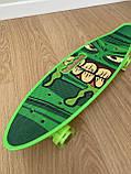 Скейт Penny Board, із широкими світлими колесами і ручкою, Пенні борд, дитячий ,від 5 років, Зелений, фото 7